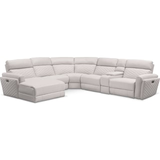 Catalina 6-Piece Power Reclining Sectional with Left-Facing Chaise and 2 Recliners - Ivory