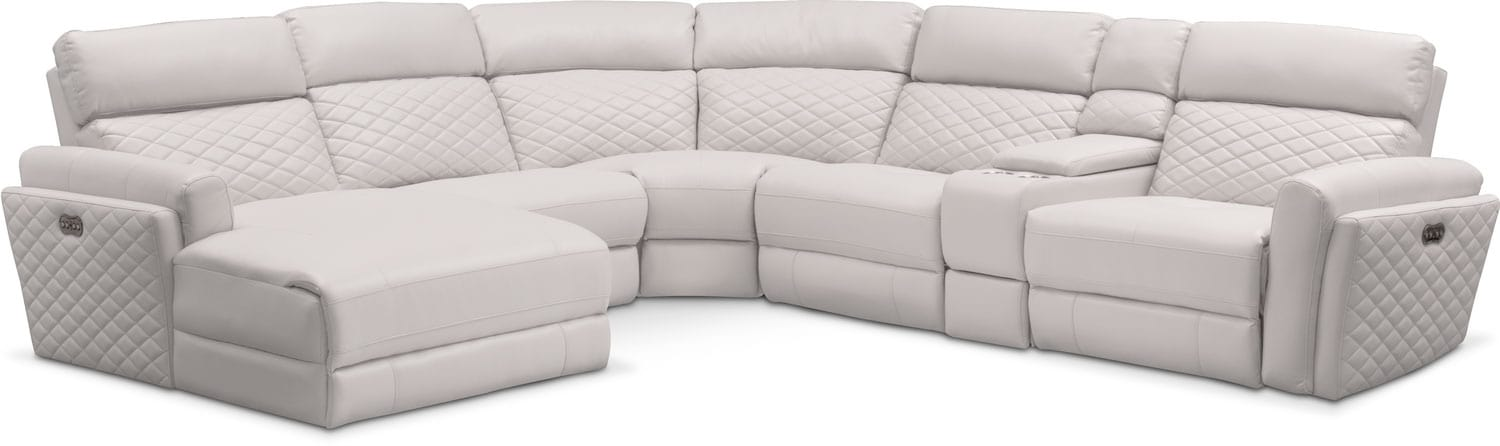 Catalina 6-Piece Power Reclining Sectional with Left-Facing Chaise and 2 Recliners - Ivory by One80  sc 1 st  American Signature Furniture : american signature chaise - Sectionals, Sofas & Couches