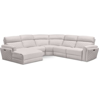 Catalina 5-Piece Power Reclining Sectional with Left-Facing Chaise and 2 Recliners - Ivory