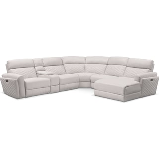 Catalina 6-Piece Power Reclining Sectional with Right-Facing Chaise and 2 Recliners - Ivory