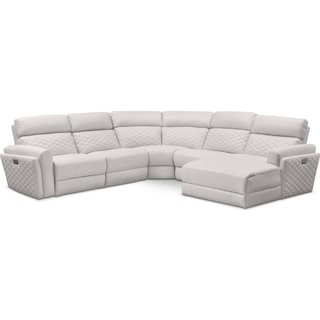 Catalina 5-Piece Power Reclining Sectional with Right-Facing Chaise and 2 Recliners - Ivory