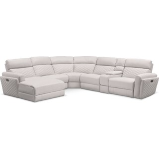 Catalina 6-Piece Power Reclining Sectional with Left-Facing Chaise with 1 Recliner - Ivory