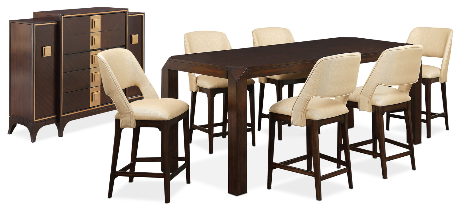 The Savoy Counter-Height Dining Collection - Merlot