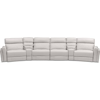 Catalina 6-Piece Power Reclining Sectional with Wedge Consoles - Ivory