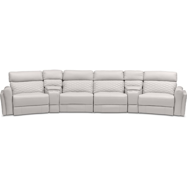 Living Room Furniture - Catalina 6-Piece Power Reclining Sectional with 2 Wedge Consoles - Ivory