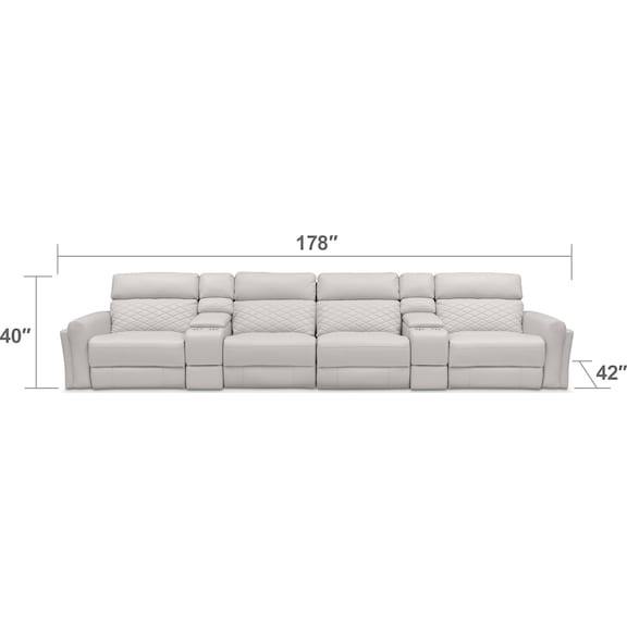 Living Room Furniture - Catalina 6-Piece Power Sectional with 4 Reclining Seats - Ivory