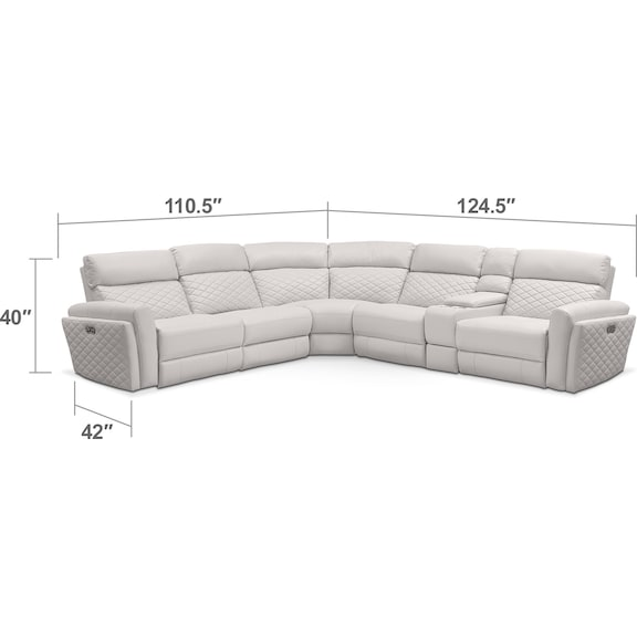 Living Room Furniture - Catalina 6-Piece Power Reclining Sectional with 2 Reclining Seats - Ivory