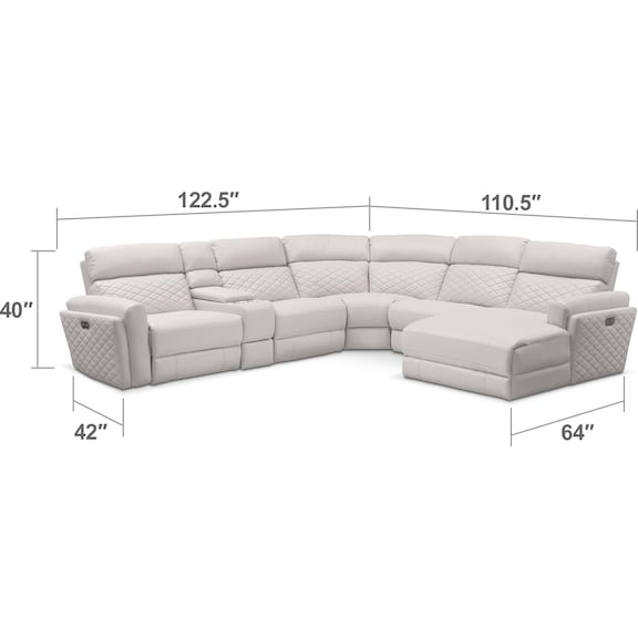 Living Room Furniture - Catalina 6-Piece Power Reclining Sectional with Right-Facing Chaise and 1 Recliner - Ivory