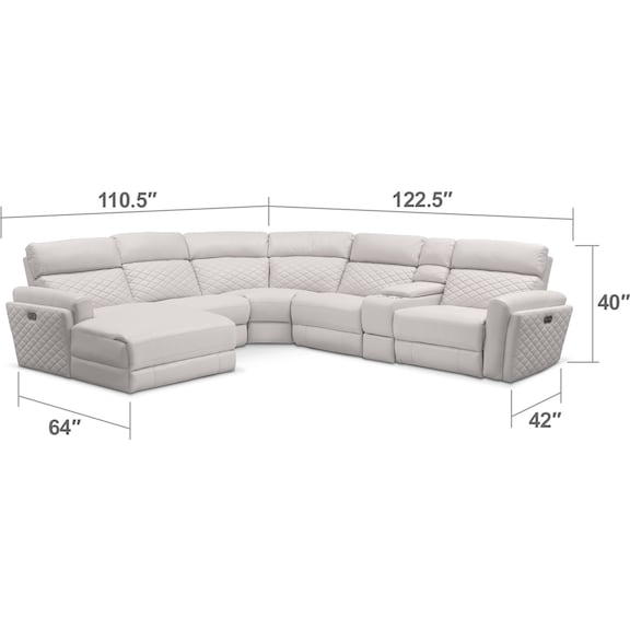 Living Room Furniture - Catalina 6-Piece Power Reclining Sectional with Left-Facing Chaise and 1 Recliner - Ivory