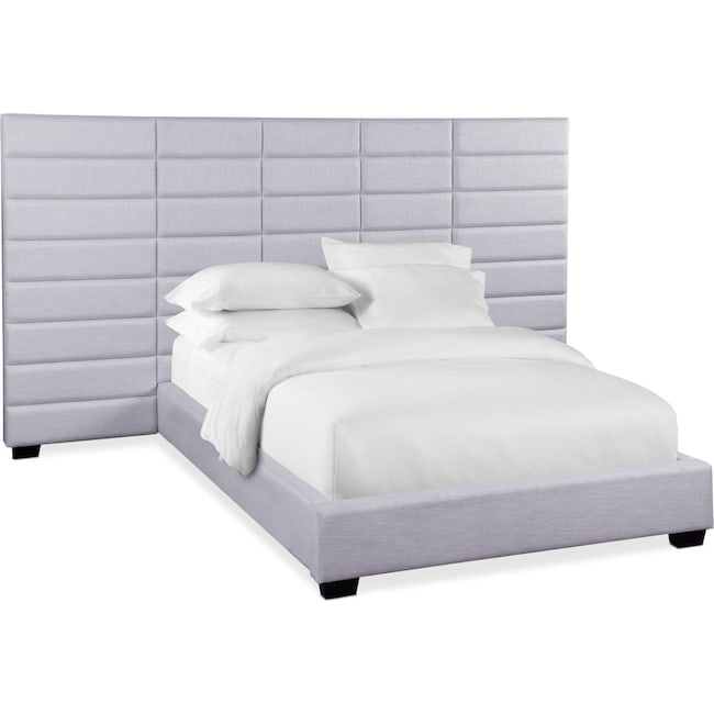 Bedroom Furniture - Bellamy Queen Upholstered Wall Bed - Gray