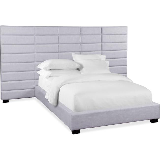 Bedroom Furniture - Bellamy Queen Upholstered Wall Bed - Gray