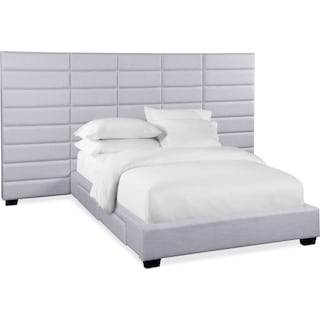 Bellamy King Upholstered Wall Bed w/ Storage - Gray