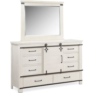 Founders Mill Dresser and Mirror - White