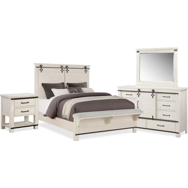 Bedroom Furniture - Founders Mill 6-Piece Bedroom Set with Nightstand, Dresser and Mirror