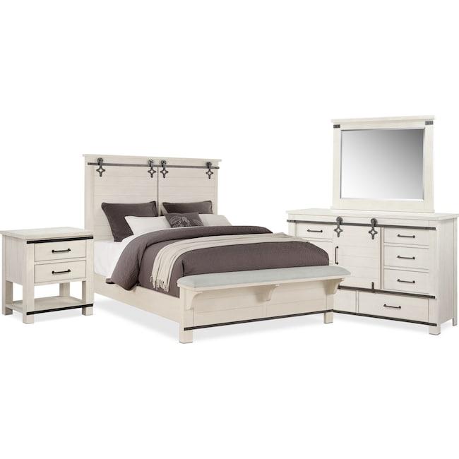 Bedroom Furniture - Founders Mill 6-Piece Queen Bedroom Set - White