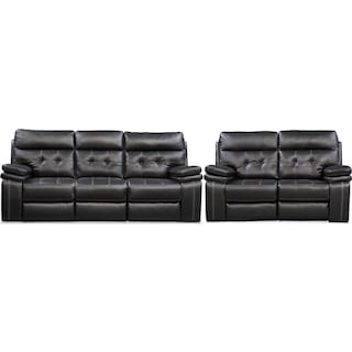 Brisco Sofa and Loveseat Set - Black