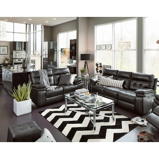 Living Room Design With Black Leather Sofa black sofa wood table rug lamp The Brisco Collection Black