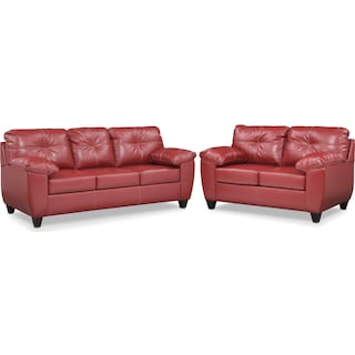 Ricardo Queen Memory Foam Sleeper Sofa and Loveseat Set - Cardinal