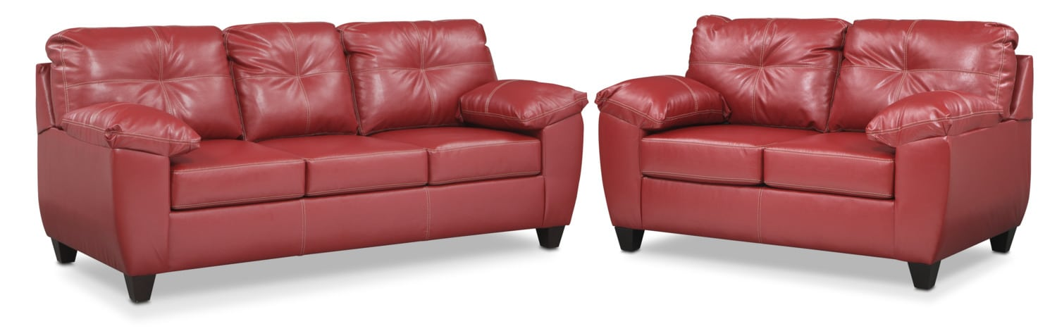 Living Room Furniture   Ricardo Sofa And Loveseat Set   Cardinal