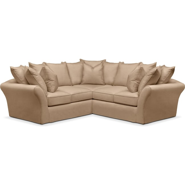 Living Room Furniture - Allison 2 Pc. Sectional with Right Facing Loveseat- Cumulus in Hugo Camel
