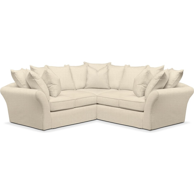 Living Room Furniture - Allison 2 Pc. Sectional with Right Facing Loveseat- Cumulus in Anders Cloud