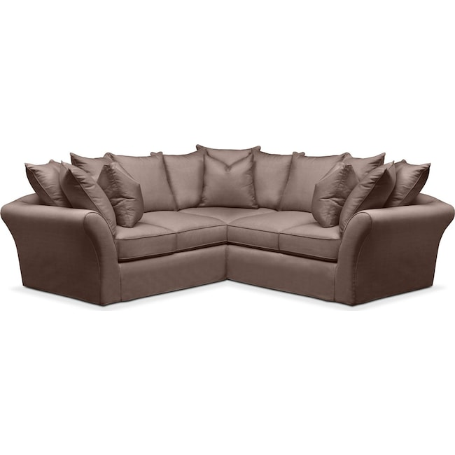Living Room Furniture - Allison 2 Pc. Sectional with Right Facing Loveseat- Cumulus in Oakley III Java