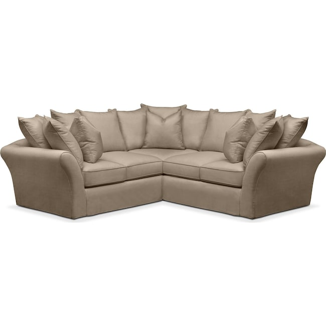 Living Room Furniture - Allison 2 Pc. Sectional with Right Facing Loveseat- Cumulus in Statley L Mondo