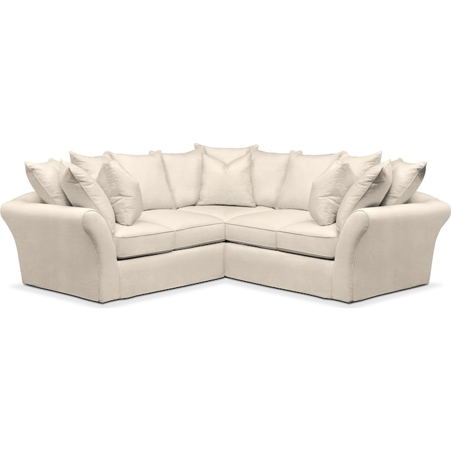 Living Room Furniture - Allison 2 Pc. Sectional with Right Facing Loveseat- Cumulus in Curious Pearl
