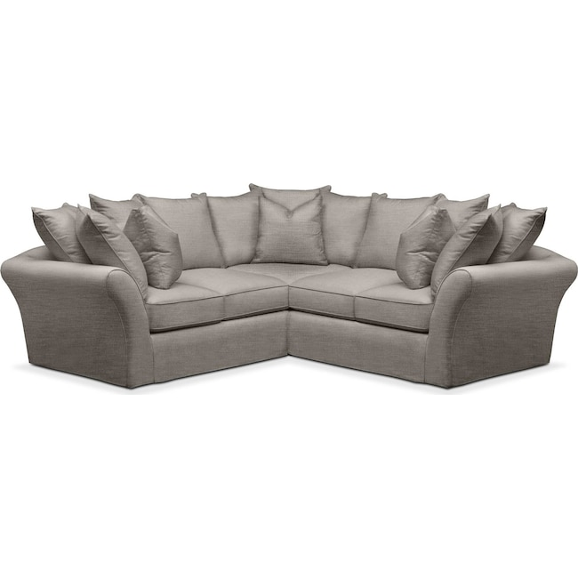Living Room Furniture - Allison 2 Pc. Sectional with Right Facing Loveseat- Cumulus in Victory Smoke