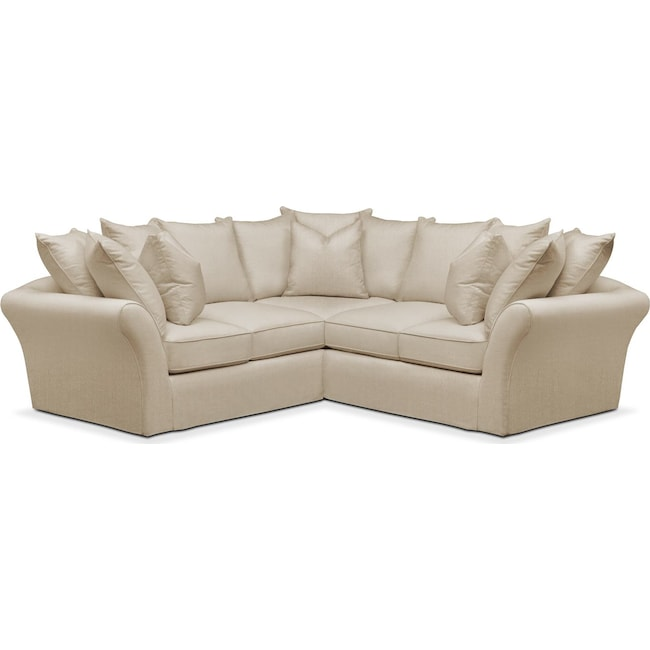 Living Room Furniture - Allison 2 Pc. Sectional with Right Facing Loveseat- Cumulus in Depalma Taupe
