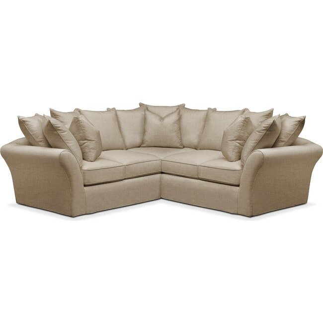 Living Room Furniture - Allison 2 Pc. Sectional with Right Facing Loveseat- Cumulus in Milford II Toast
