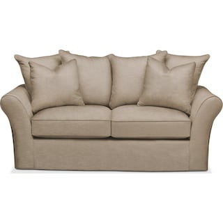 Allison Apartment Sofa- Cumulus in Dudley Burlap
