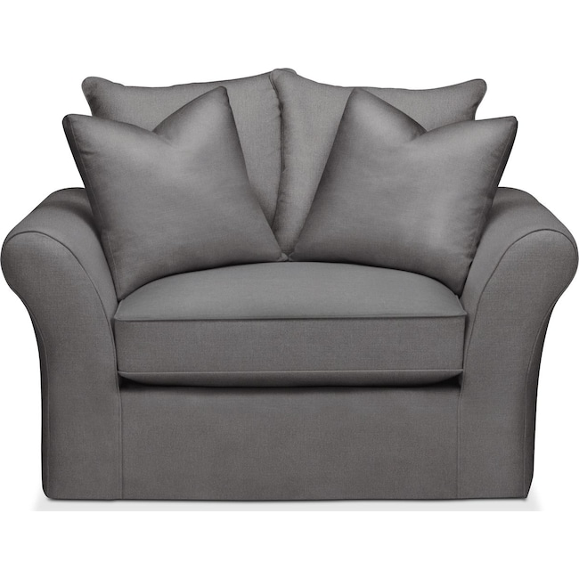 Living Room Furniture - Allison Chair and a Half- Cumulus in Hugo Graphite