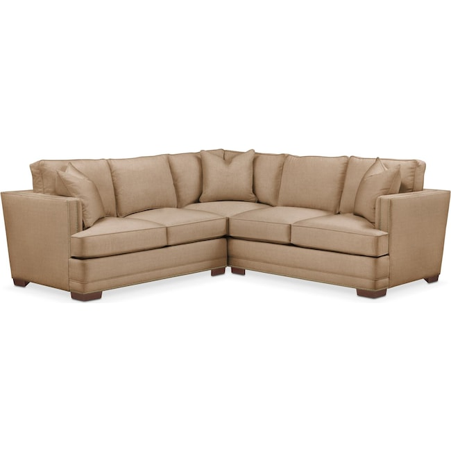 Living Room Furniture - Arden 2 Pc. Sectional with Right Arm Facing Loveseat- Cumulus in Hugo Camel
