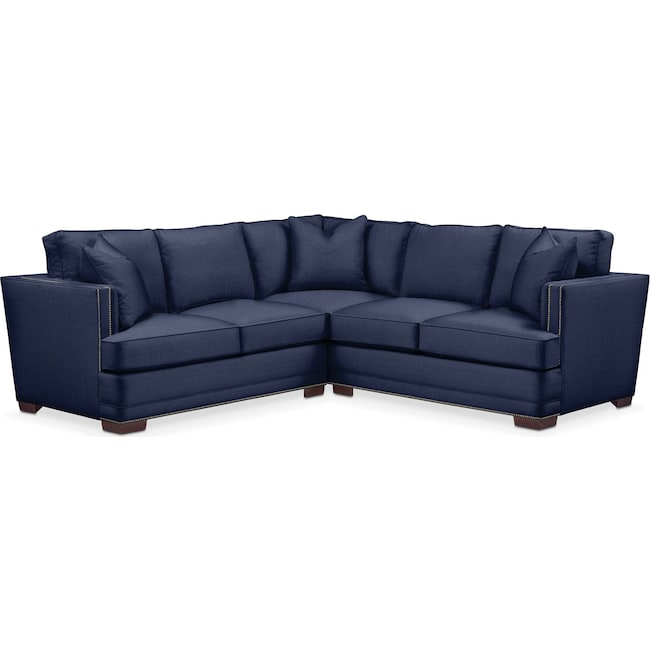 Living Room Furniture - Arden 2 Pc. Sectional with Right Arm Facing Loveseat- Cumulus in Oakley III Ink