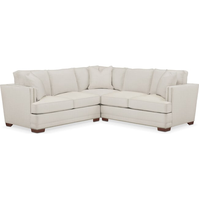 Living Room Furniture - Arden 2 Pc. Sectional with Right Arm Facing Loveseat- Cumulus in Victory Ivory