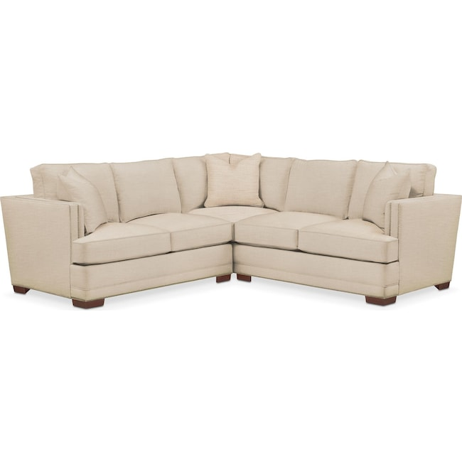 Living Room Furniture - Arden 2 Pc. Sectional with Right Arm Facing Loveseat- Cumulus in Anders Ivory