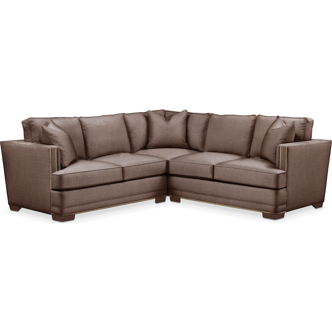 Living Room Furniture - Arden 2 Pc. Sectional with Right Arm Facing Loveseat- Cumulus in Oakley III Java