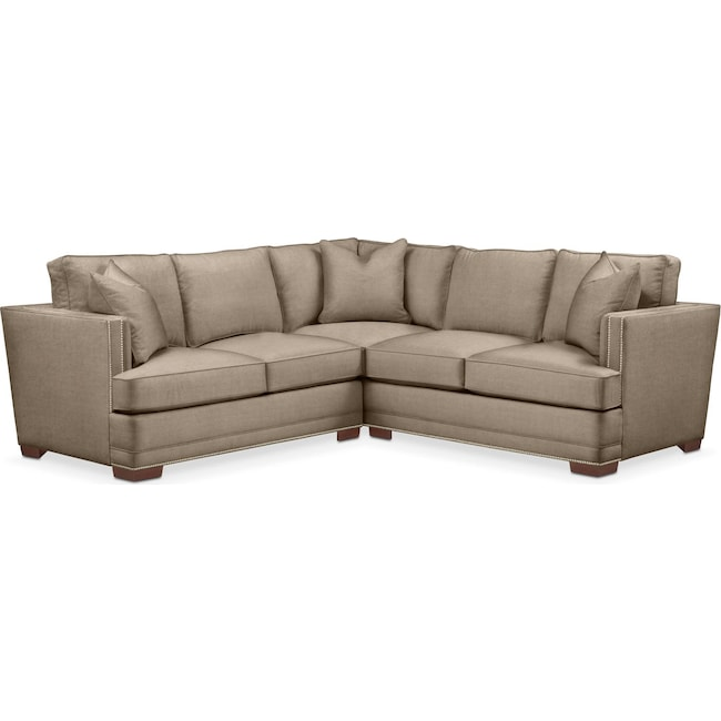 Living Room Furniture - Arden 2 Pc. Sectional with Right Arm Facing Loveseat- Cumulus in Statley L Mondo