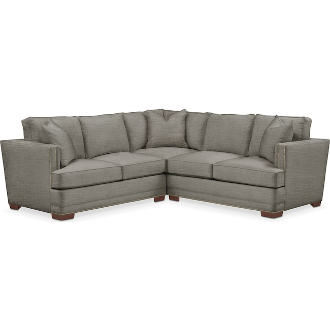 Living Room Furniture - Arden 2-Piece Sectional with Right-Facing Loveseat - Cumulus in Victory Smoke