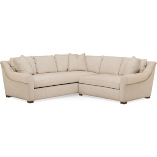 Asher 2 Pc. Sectional with Right Arm Facing Loveseat- Cumulus in Dudley Buff