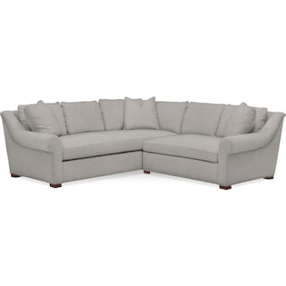 Asher 2 Pc. Sectional with Right Arm Facing Loveseat- Cumulus in Dudley Gray