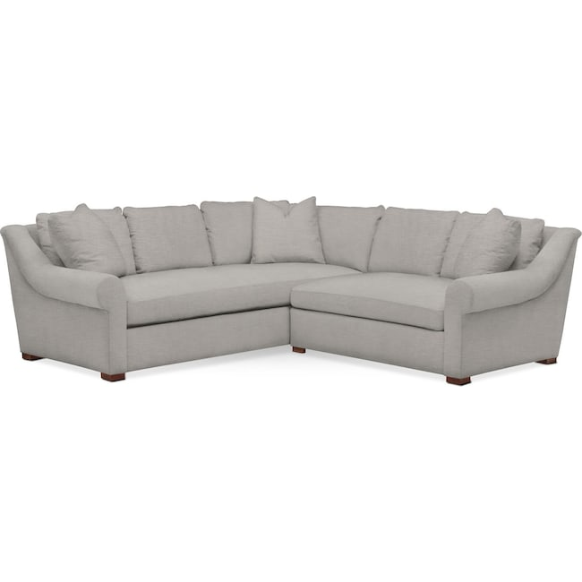 Living Room Furniture - Asher 2 Pc. Sectional with Right Arm Facing Loveseat- Cumulus in Dudley Gray
