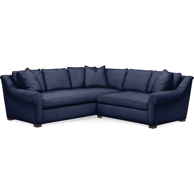Living Room Furniture - Asher 2 Pc. Sectional with Right Arm Facing Loveseat- Cumulus in Oakley III Ink