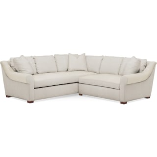 Asher 2 Pc. Sectional with Right Arm Facing Loveseat- Cumulus in Anders Ivory