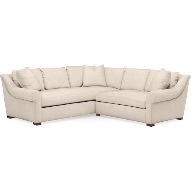 Living Room Furniture - Asher 2 Pc. Sectional with Right Arm Facing Loveseat- Cumulus in Curious Pearl