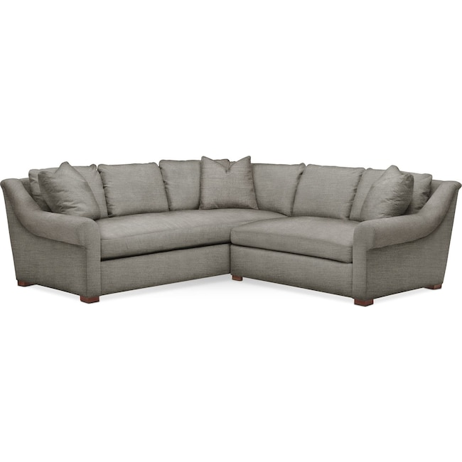 Living Room Furniture - Asher 2 Pc. Sectional with Right Arm Facing Loveseat- Cumulus in Victory Smoke