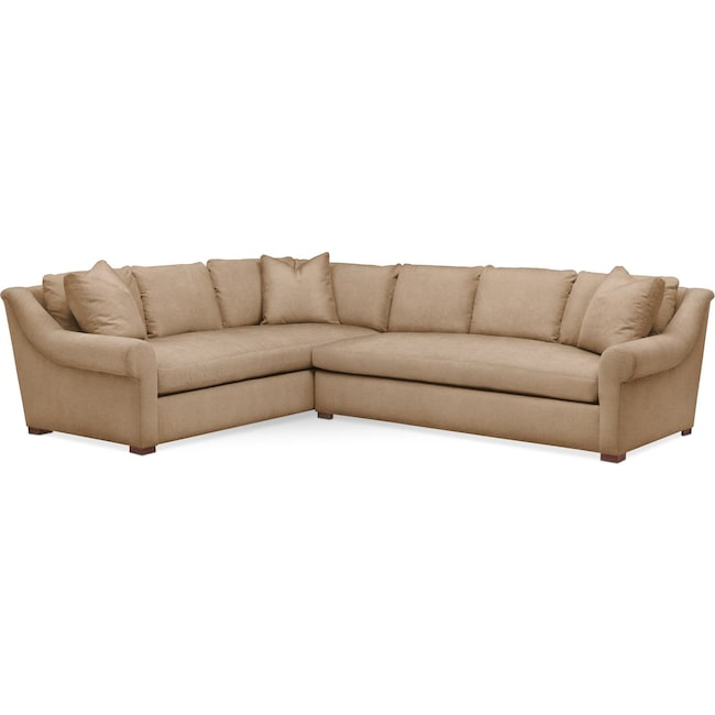 Living Room Furniture - Asher 2 Pc. Sectional with Right Arm Facing Sofa- Cumulus in Hugo Camel