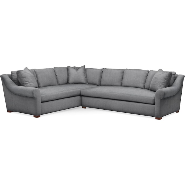 Living Room Furniture - Asher 2 Pc. Sectional with Right Arm Facing Sofa- Cumulus in Curious Charcoal