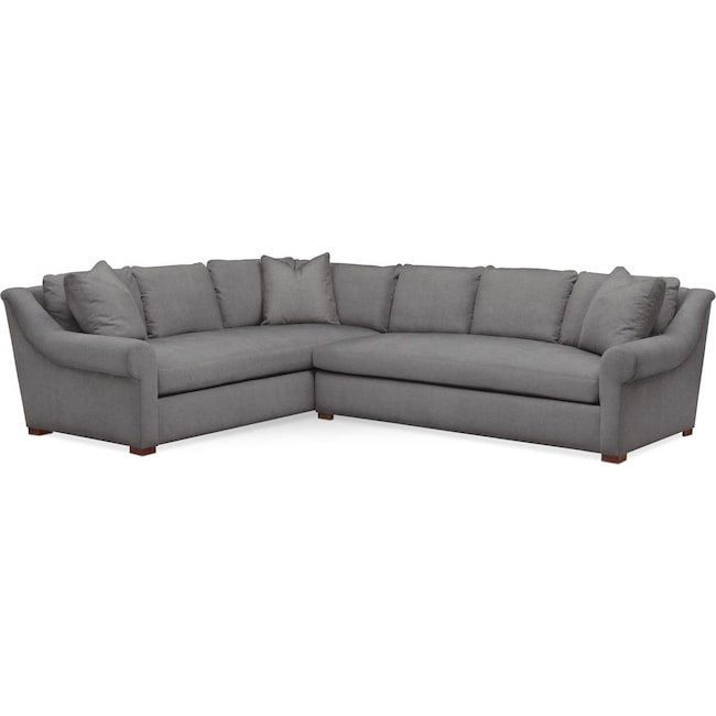 Living Room Furniture - Asher 2 Pc. Sectional with Right Arm Facing Sofa- Cumulus in Hugo Graphite